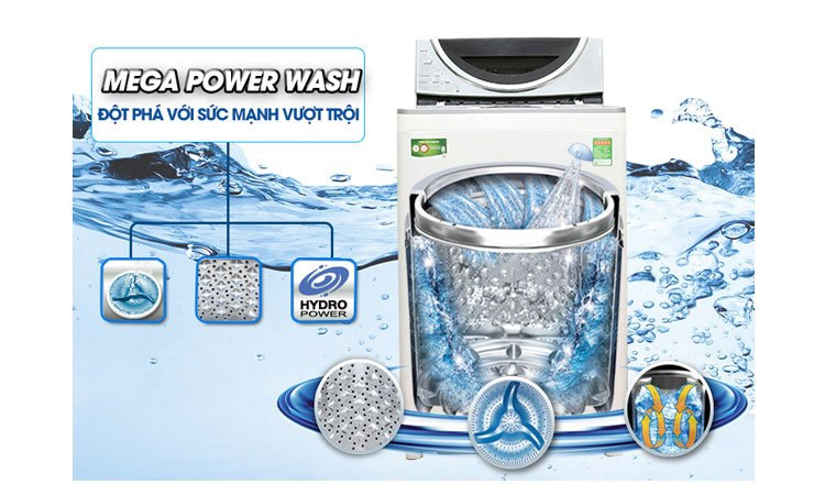 Máy giặt Toshiba AW-DC1300WV (W) giặt sạch vượt trội