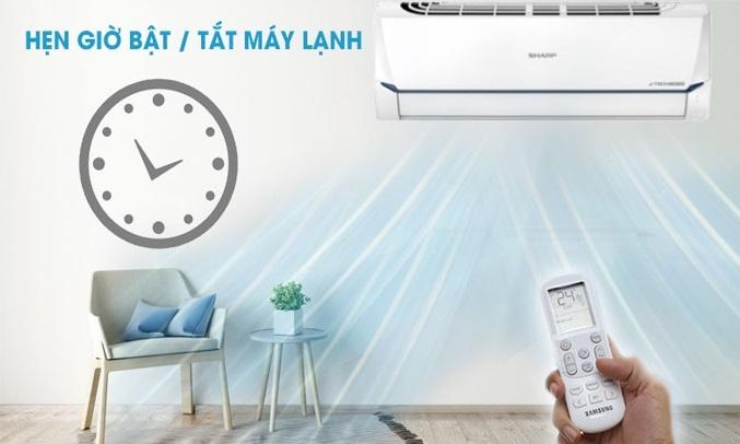 Máy lạnh Sharp Inverter 1.5 HP AH-X12XEW hẹn giờ bật, tắt máy