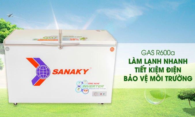 Tủ đông Sanaky Inverter 270 lít VH-3699A4K gas thân thiện môi trường