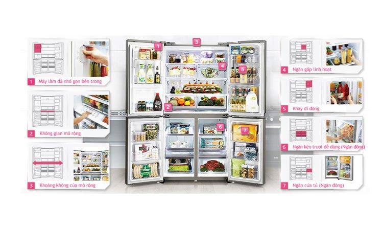 Tủ lạnh LG GR-R24FGK khay kệ bố trí linh hoạt, thông minh