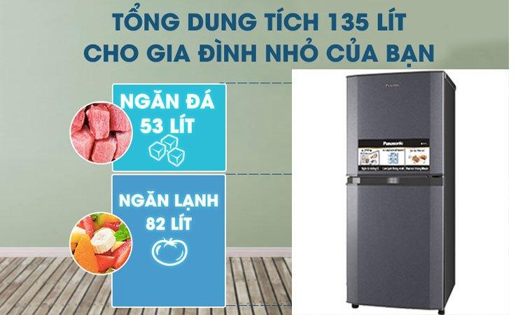 Tủ lạnh Panasonic NR-BJ158SSVN nhỏ gọn dung tích 135 lít
