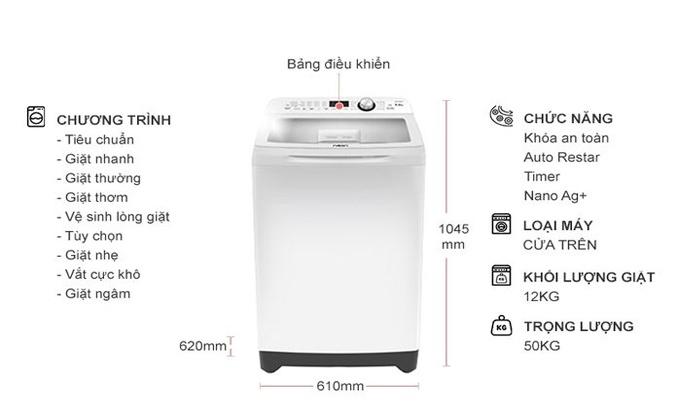 Máy giặt Aqua 12 kg AQW-FR120CT (W) 12 chương trình giặt