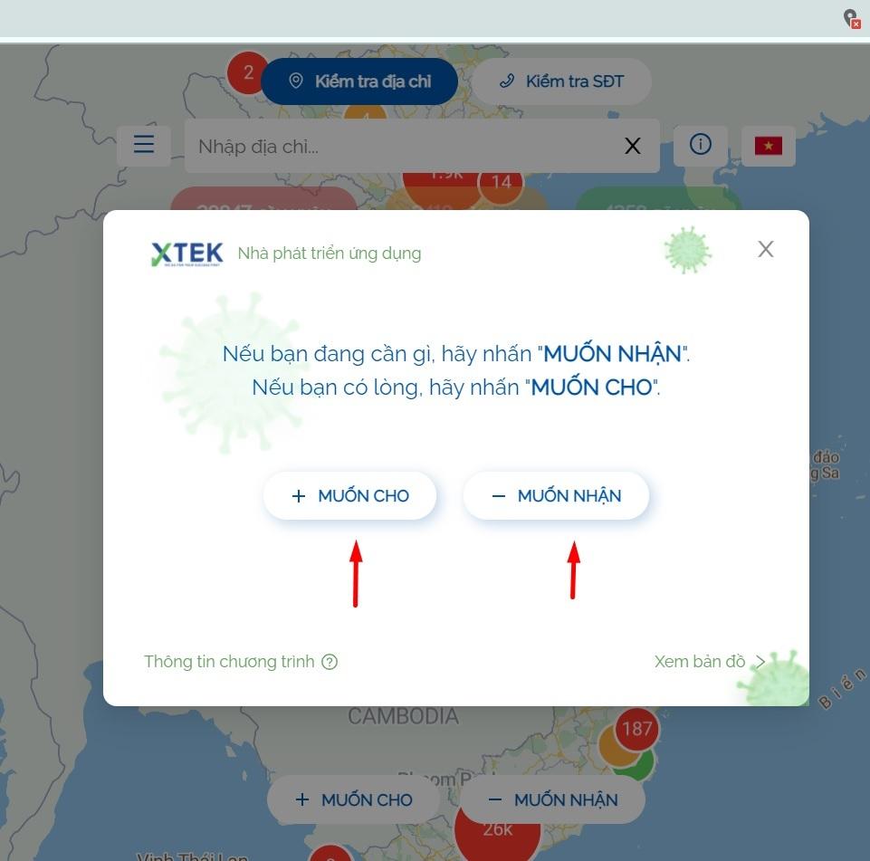 Chọn muốn nhận hoặc muốn cho trên SOSmap.net để nhận cứu trợ mùa dịch