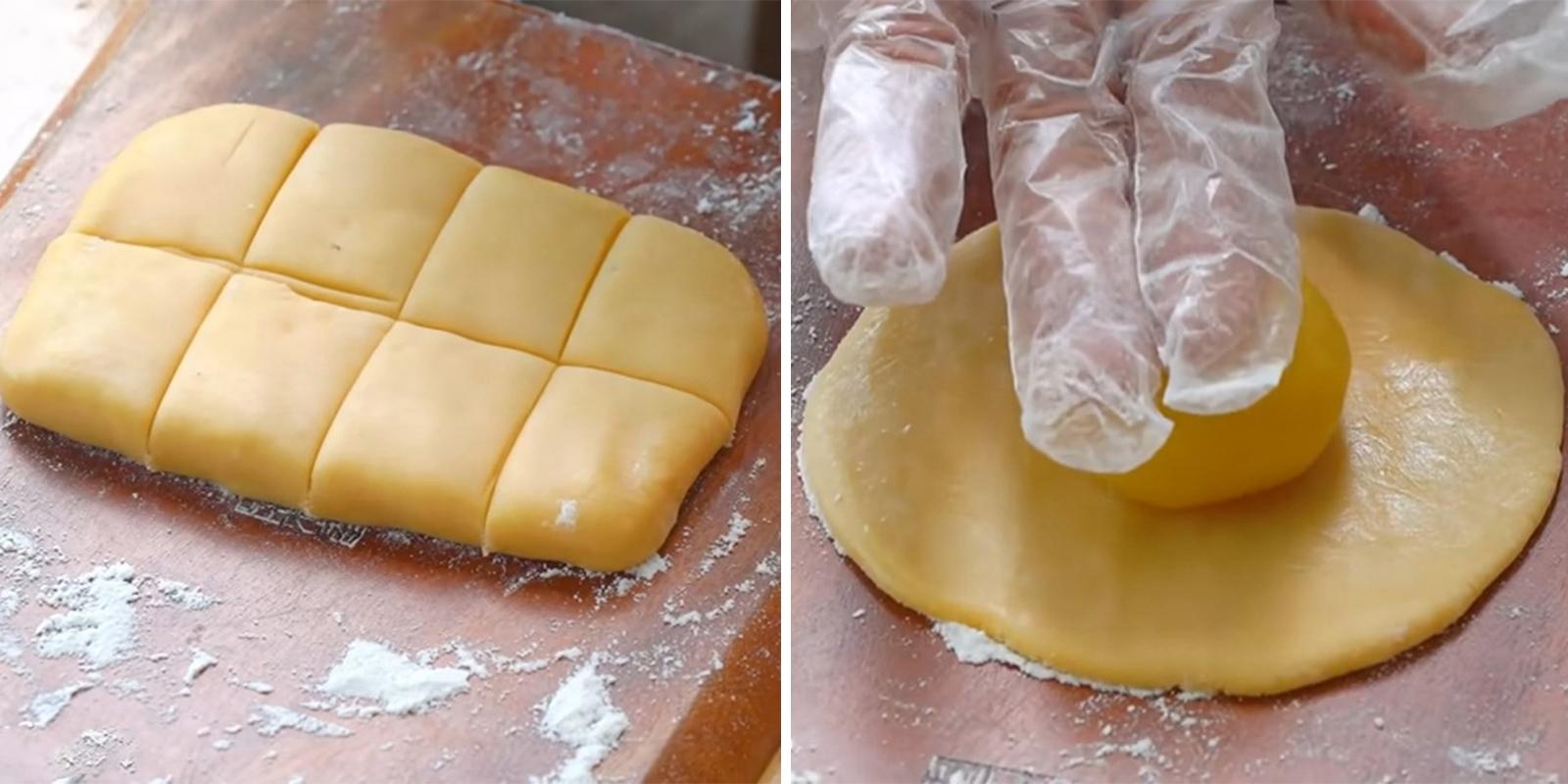 bọc nhân đậu xanh bánh Trung Thu trong bỏ bánh