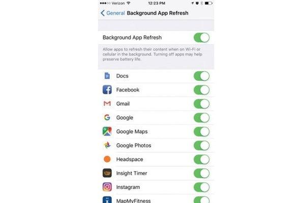 Tắt tính năng Background App Refresh trên điện thoại iPhone để tiết kiệm 3G/4G