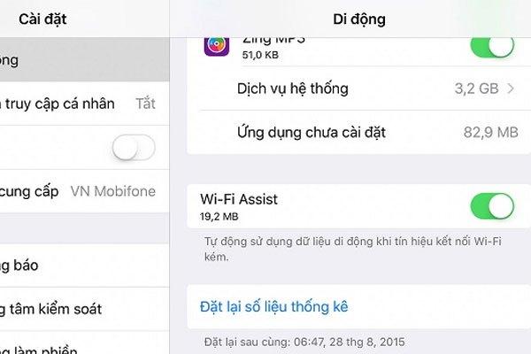 Dung lượng 3G/4G trên iPhone sẽ bị hao phí không cần thiết khi bạn mở Wi-Fi Assist