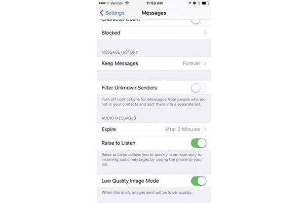 Hãy chọn độ phân giải thấp khi nhắn tin hình ảnh để tiết kiệm 3G/4G cho iPhone