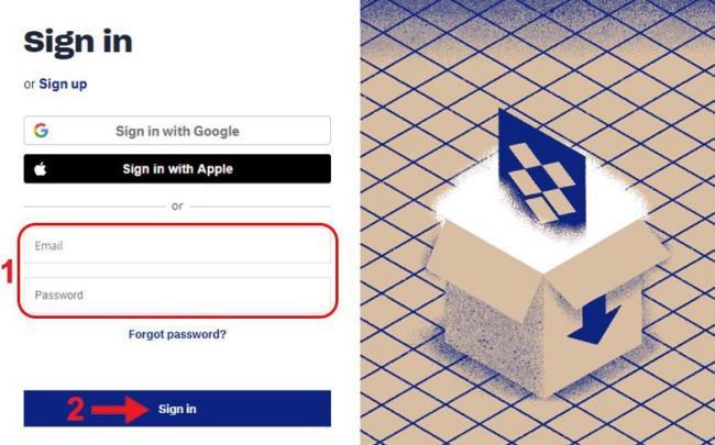 Nhập thông tin để đăng nhập Dropbox