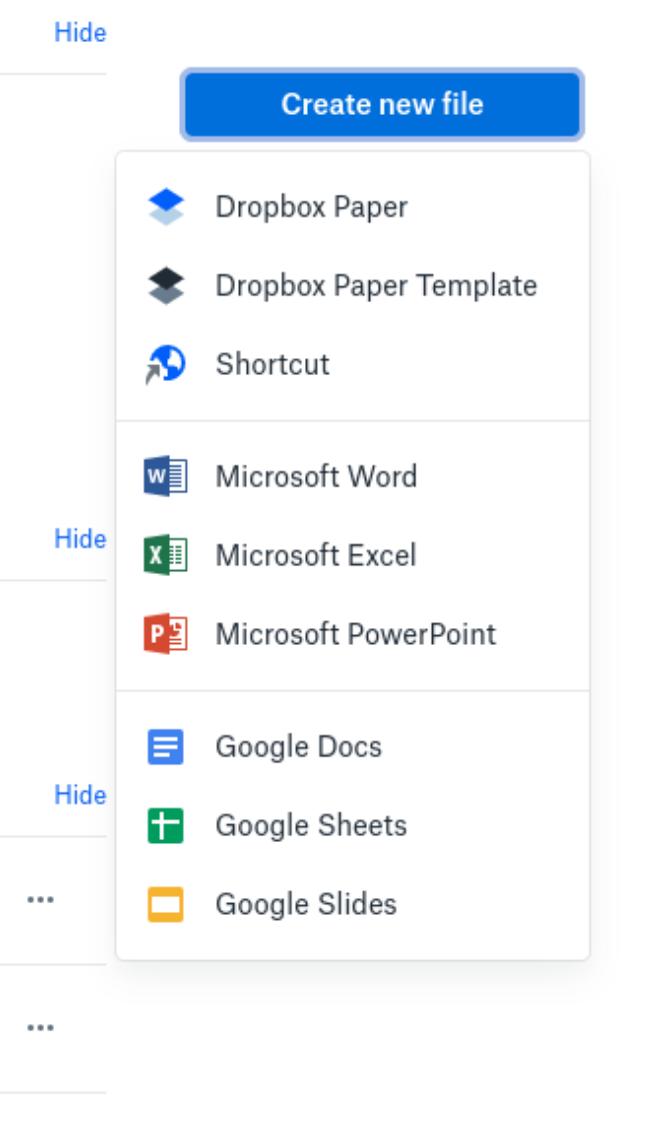 Create new file có nhiều công cụ như  Dropbox Paper, Microsoft Office hay Google