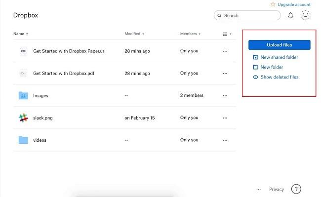 Dịch vụ lưu trữ Dropbox có các tính năng như Upload files, Upload folder