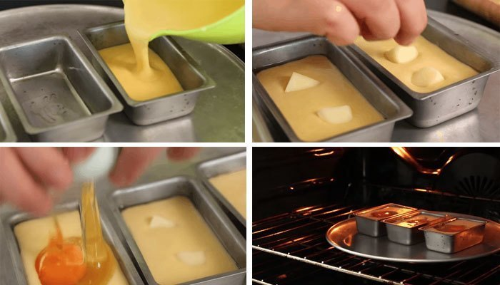 Nướng bánh trứng lòng đào phô mai trong lò khoảng 13 phút