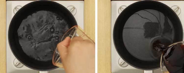 Cho nguyên liệu vào chảo chống dính để làm món gà xá xíu