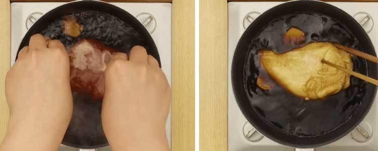 Cho tiếp nguyên liệu chính - gà, để làm món gà xá xíu bằng chảo chống dính