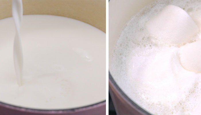 Đun sữa trên bếp điện