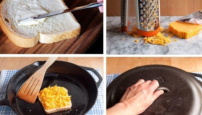 Chiên sandwich trên chảo chống dính