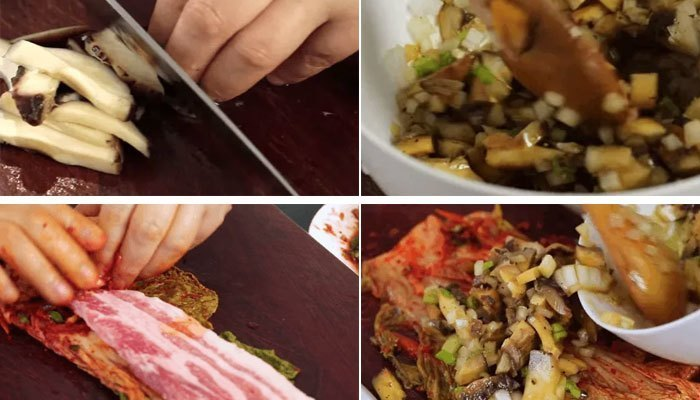 Làm thịt heo cuộn kim chi bằng bếp điện