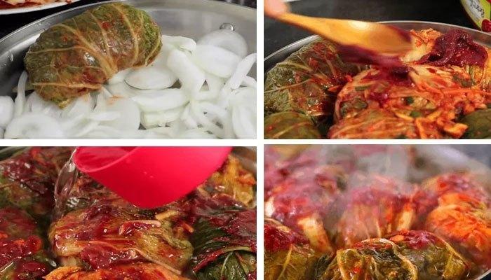 Thịt heo cuộn kim chi làm bằng bếp