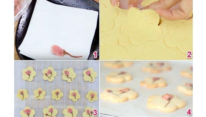 Sắp hoàn thành món bánh quy bơ hoa anh đào rồi, bỏ chúng vào lò nướng thôi nào!