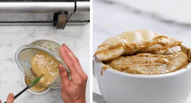 Lấy hỗn hợp ra khỏi lò vi sóng và thêm chuối, sốt caramel lên trên