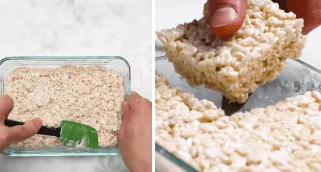 Hỗn hợp bơ và Marshmallow sau khi đun chảy bằng lò vi sóng, trộn chung với ngũ cốc và để đông cứng lại