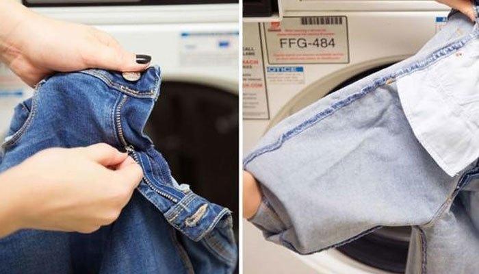 Lộn trái quần jeans khi dùng máy giặt