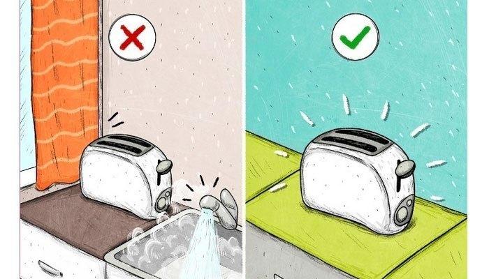 Không đặt lò nướng ở những nơi gần nước và không dùng máy với tay ướt. Ngoài ra, bạn hãy giữ máy nướng tránh xa các vật dễ cháy như rèm cửa.