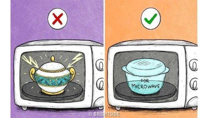 Không nên bỏ vật nặng vào lò cũng như không các loại bát, dĩa không dành cho lò vi sóng để tránh cháy nổ.