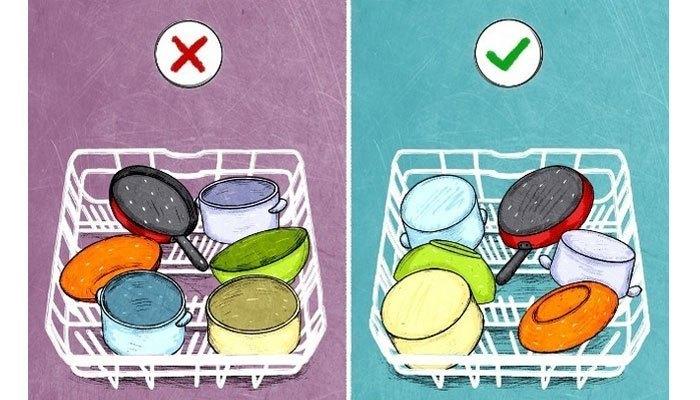 Bạn cần nhớ luôn xếp bát, đĩa úp xuống và loại bỏ dầu mỡ, thức ăn thừa trước khi cho chúng vào máy rửa chén.