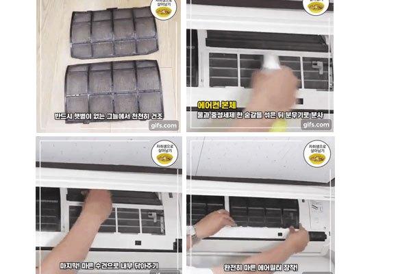 Hong khô tấm lọc rồi gắn lại vào máy lạnh