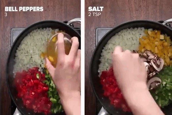 Cho nguyên liệu vào chảo chống dính.