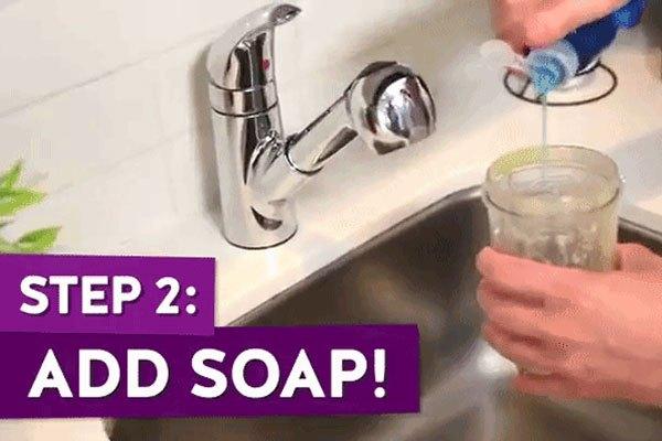 Cho thêm nước rửa chén vào cối máy xay sinh tố