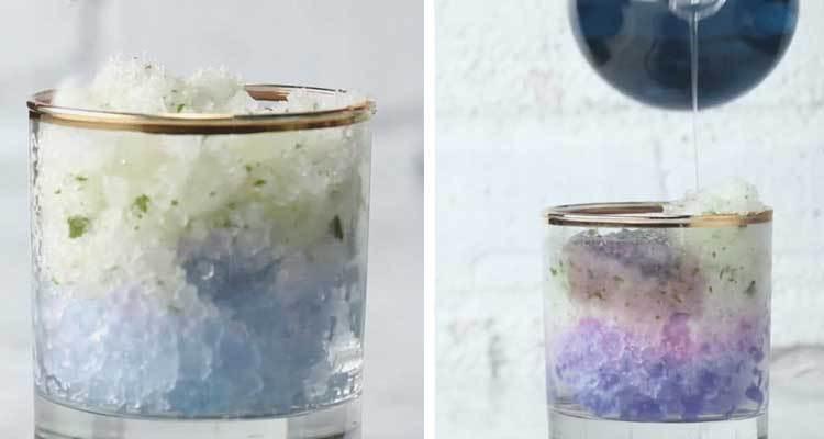 Xếp đá theo màu thứ tự giảm dần để làm món Mojito Galaxy