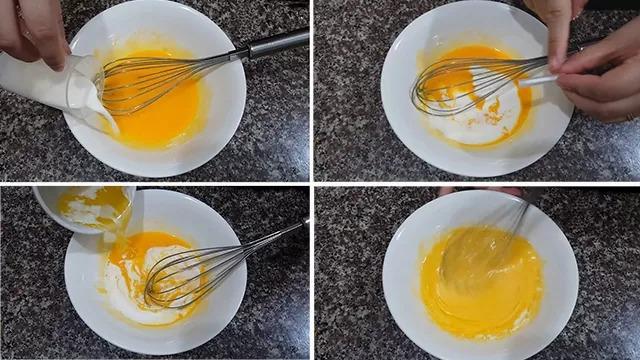 Dùng phới đánh trứng, đánh bông lòng đỏ trứng