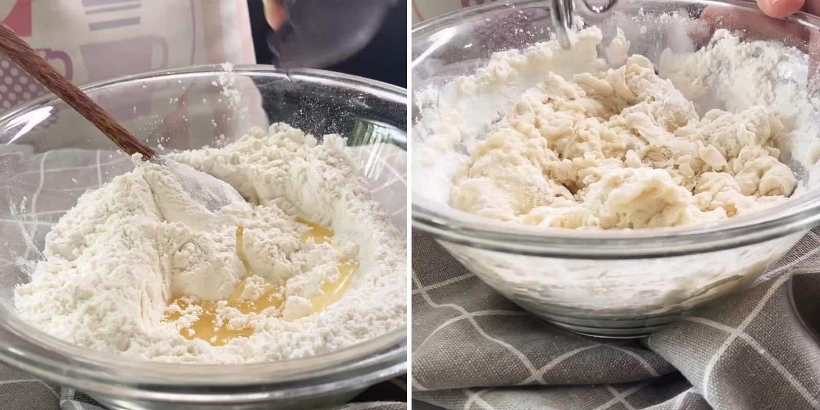 Trộn bột làm bánh mì