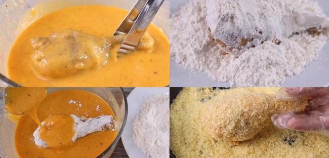 Lấy đùi gà cho vào hỗn hợp trứng rồi qua một lớp bột chiên giòn khô. Sau đó bạn lại cho gà vào hỗn hợp trứng