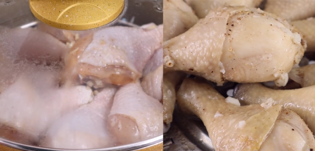 Lấy nồi hấp lên bếp cho gà vào hấp khoảng 20 phút khi gà chín bạn lấy ra để ráo.