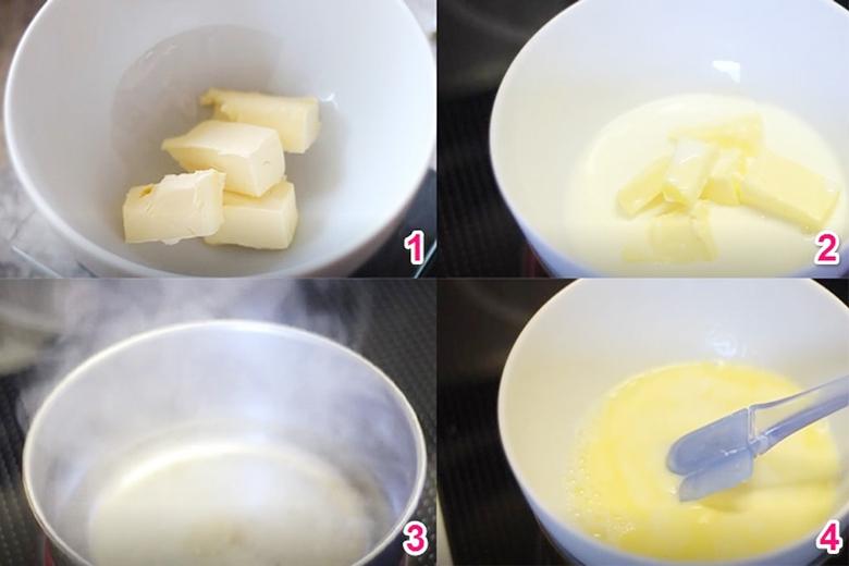 Nấu bơ tan chảy trộn đường sữa làm bánh cup cake