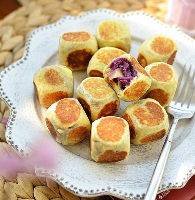 Cách làm bánh mì phô mai kết hợp cùng khoai lang tím làm ra món bánh độc đáo