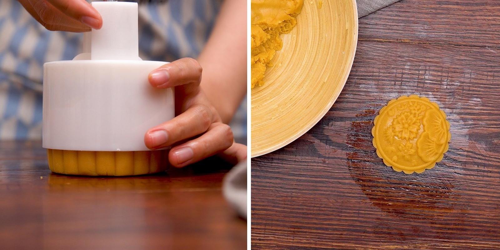 Tạo hình bánh Trung Thu nhân sữa dừa ép khuôn lò xo