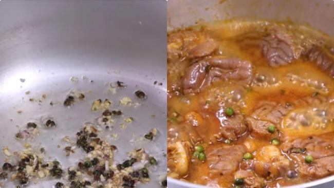 Bắt chảo cho tỏi và đầu trắng hành phi thơm cho bò vào xào đều tay trong 5 phút rồi đổ nước vào