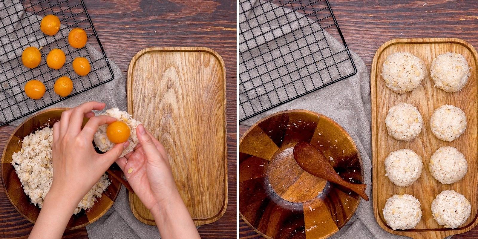Vo tròn nhân sữa dừa trứng muối bánh trung thu
