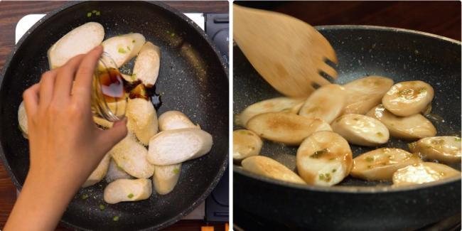 Phi thơm hành boa rô rồi cho nấm vào xào thêm gia vị