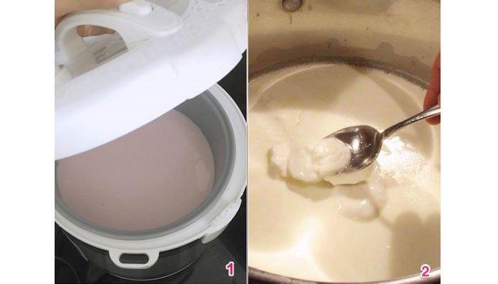 Cho sữa vào nồi cơm điện nấu trong 30 phút