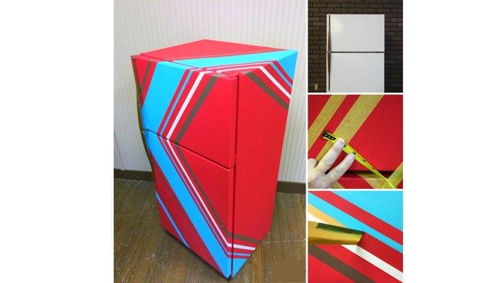 Sáng tạo tủ lạnh với băng keo, sơn, bút chì...