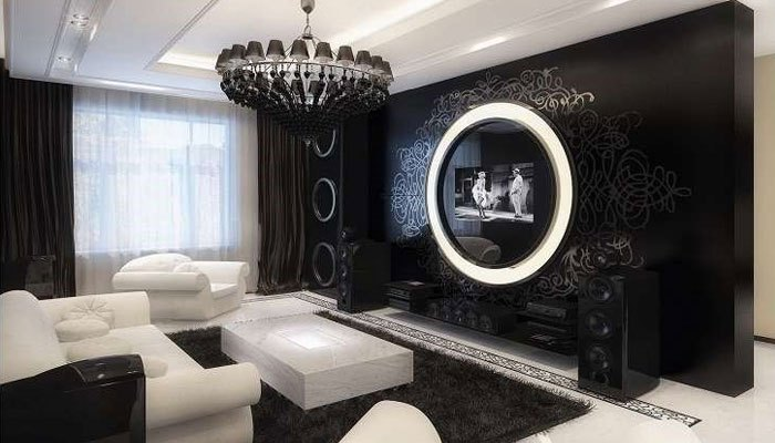 Kết hợp tivi với tường đen