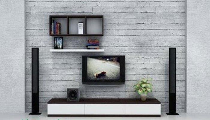 Sử dụng không gian tường còn bỏ trống để lắp tivi