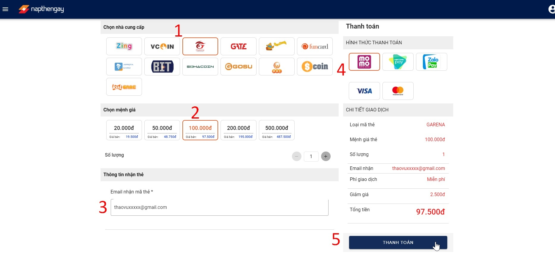 Mua thẻ game Garena Free Fire thanh toán bằng Momo trên napthengay.vn
