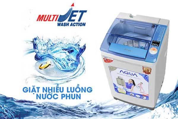 Quần áo không bị co rút sau khi giặt với công nghệMulti Jet trên máy giặt Aqua