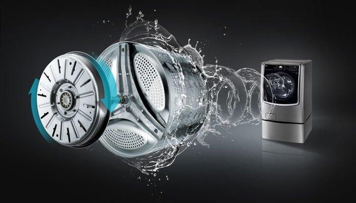 Động cơ Inverter giúp máy giặt LG TWIN Wash hoạt động mạnh mẽ, tiết kiệm điện và giảm ồn