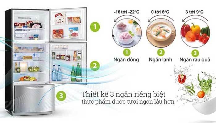 Tủ lạnh Mitsubishi có 3 ngăn riêng biệt và 3 nhiệt độ riêng